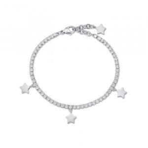 Bracciale donna Luca Barra con stelle e cristalli bianchi