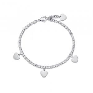 Luca Barra - Bracciale in acciaio con cuori e cristalli bianchi