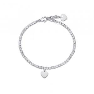 Bracciale donna Luca Barra con cuore e cristalli bianchi