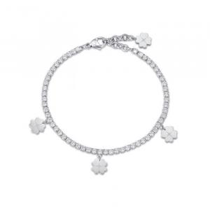 Bracciale donna Luca Barra con quadrifogli e cristalli bianchi