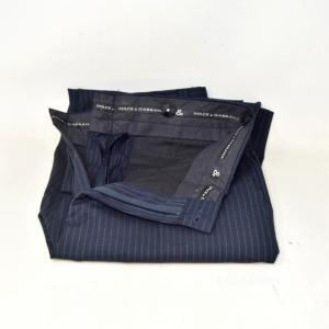 Trousers Man Dolce & Gabbana Blue Gessato Size 48