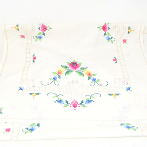 Centrino Long Embroidered By Hand 100x38 Cm Point Cross