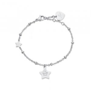 Luca Barra - Bracciale in acciaio con stelle e cristalli bianchi.