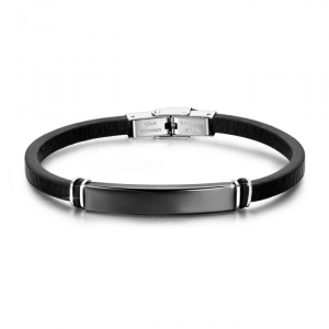 Luca Barra - Bracciale in acciaio e cuoio nero