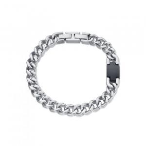 Luca Barra - Bracciale in acciaio con elemento ip nero