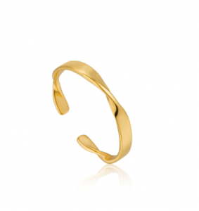 Gold Helix Thin Adjustable Ring
