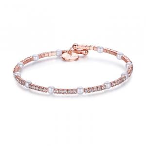 Luca Barra - Bracciale in metallo con pietre e perle bianche