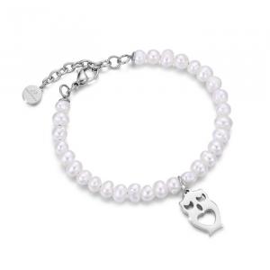Bracciale donna Luca Barra con perle e gufo