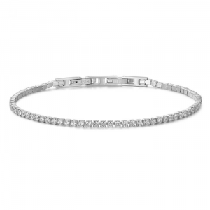 Luca Barra - Bracciale Tennis in acciaio con cristalli bianchi