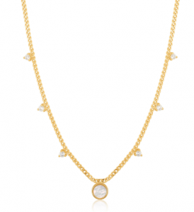 Gold Mother Of Pearl Drop Disc Necklace