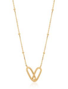Gold Beaded Chain Link Necklace