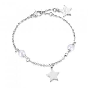 Bracciale donna Luca Barra con stella e perle bianche