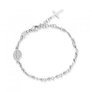Luca Barra - Bracciale rosario in acciaio con sfere acciaio.