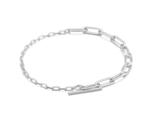 Silver Mixed Link T-bar Bracelet
