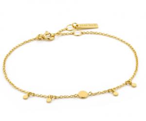 Gold Geometry Drop Discs Bracelet