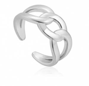 Silver Wide Curb Chain Adjustable Ring