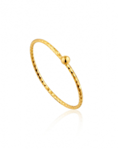 Gold Texture Small Ball Ring - 51