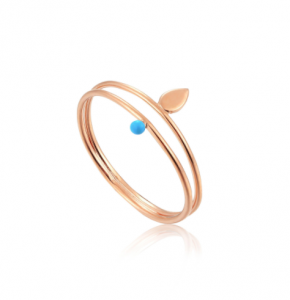 Rose Gold Dotted Double Ring - 52