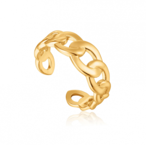 Gold Curb Chain Adjustable Ring