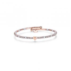 Bracciale donna Luca Barra con cuore, perle e cristalli bianchi