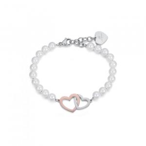 Bracciale donna Luca Barra con perle e cuori