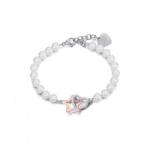 Bracciale donna Luca Barra con perle, cuore e stella