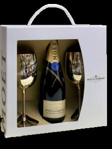 Champagne Moet & Chandon Reserve Imperiale con 2 calici dorati