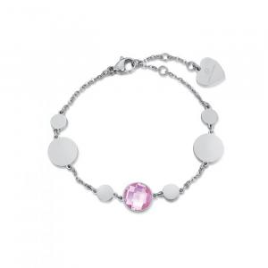 Bracciale donna Luca Barra con pietre rosa