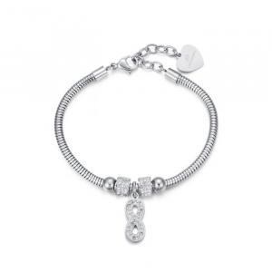 Luca Barra - Bracciale in acciaio con infinito e cristalli bianchi.