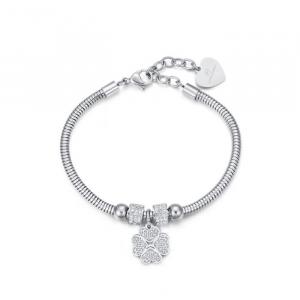 Luca Barra - Bracciale in acciaio con quadrifoglio e cristalli bianchi