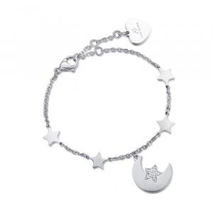 Luca Barra - Bracciale in acciaio con luna, stelle e cristallo bianco