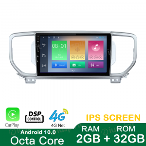 ANDROID 10 autoradio navigatore per Kia Sportage 2016-2018 GPS USB WI-FI Car Play Bluetooth Mirrorlink 4G LTE