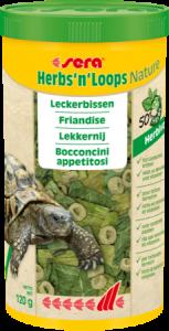 Sera Herbs'n'Loops Nature 1000ml(120g) Bocconcini per tartarughe terrestri e rettili erbivori