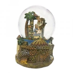 Carillon sfera grande palla di neve presepe con palma