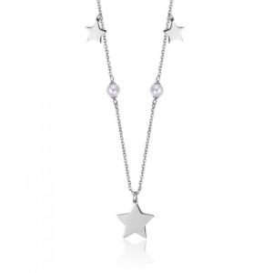 Collana donna Luca Barra con stelle e perle bianche