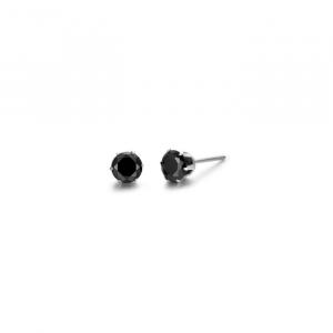 Luca Barra - Orecchini punti luce in acciaio con cristallo nero da 5 mm