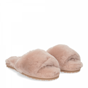 Mou sheepskin fur slide slipper rose beige