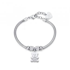 Luca Barra - Bracciale in acciaio con orsetto e cristalli bianchi.