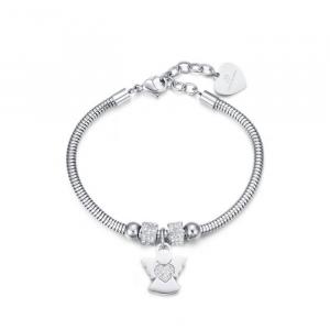 Luca Barra - Bracciale in acciaio con angelo e cristalli bianchi