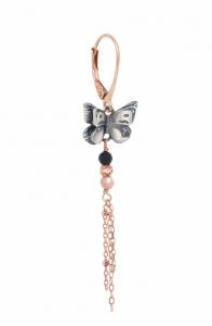 Orecchino Singolo con Farfalla, Catene e Pietre