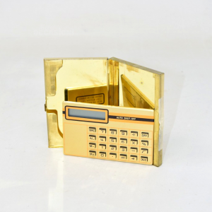 Calculator Pocket With Case Golden 9x6 Cm