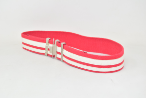 Belt Woman Cerruti Jeans In Canvas Red White