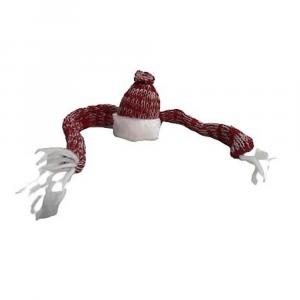 Sciarpa e cappello per decorare bottiglia Natale
