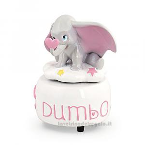Carillon Elefantino Dumbo Rosa in resina 9x14 cm  - Bomboniera battesimo bimba