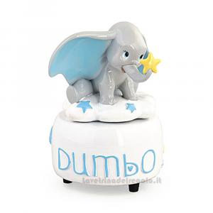 Carillon Elefantino Dumbo Celeste in resina 9x14 cm  - Bomboniera battesimo bimbo
