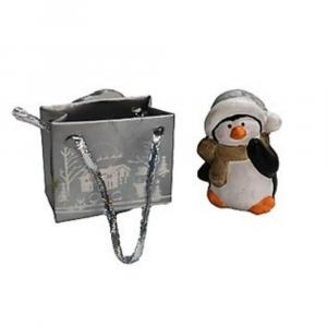 Pinguino natalizio segnaposto in miniatura con sacchetto