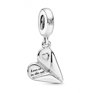 Charm Pendente Heart Paper Plane