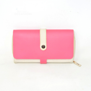 Wallet Obag In Canvas Beige And Rubber Pink English Design