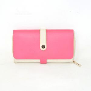 Portafoglio O bag In Tela Beige E Gomma Rosa Italian Design (difetto interno)