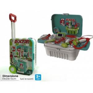 General Trade Trolley Con Accessori Per Dottori Facilmente Estraibile con Stetoscopio e altri Dispositivi Medici Giocattolo